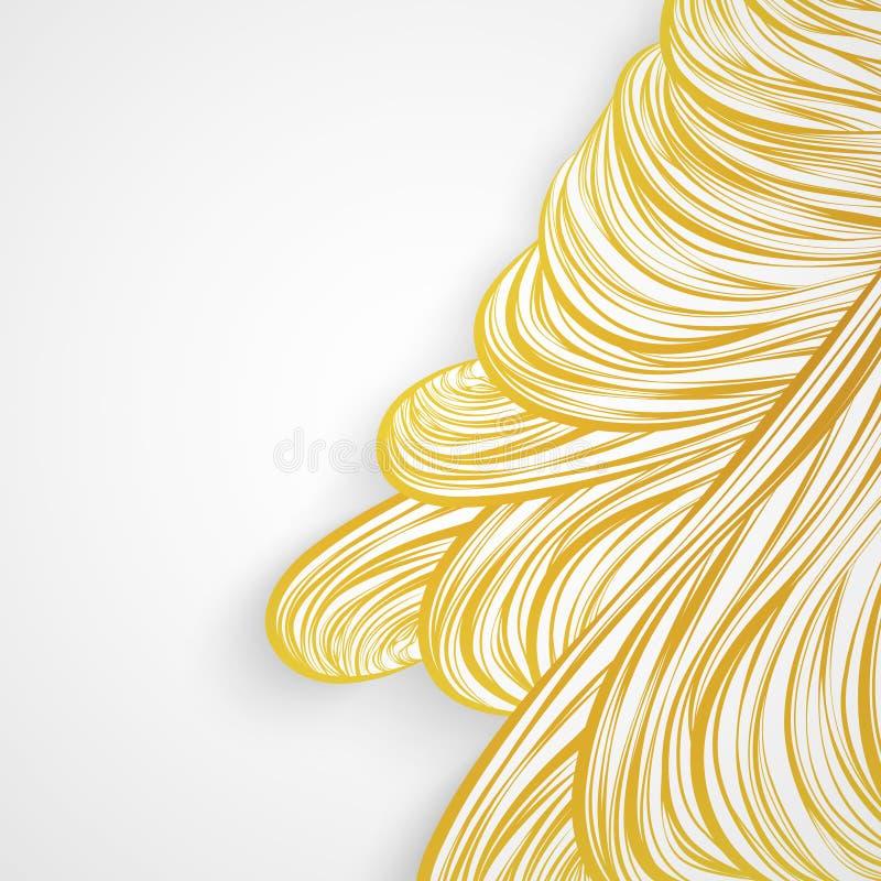 Modelo abstracto de oro hai del oro de la onda del arte alineado de la invitación de la tarjeta libre illustration