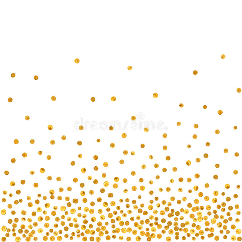 Modelo abstracto de puntos de oro que caen al azar ilustración del vector