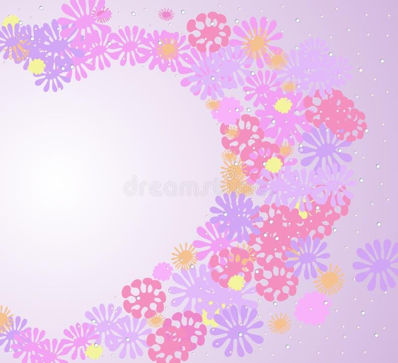 Modelo abstracto del corazón del amor hecho de las flores rosadas, púrpuras, amarillas y de los descensos de un aislante del vect ilustración del vector