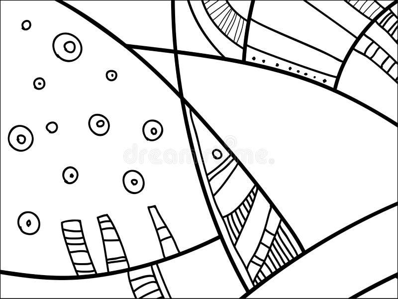Modelo abstracto del vector, garabatos blancos y negros Fondo para el cartel, postal, contexto Ejemplo con las formas abstractas ilustración del vector