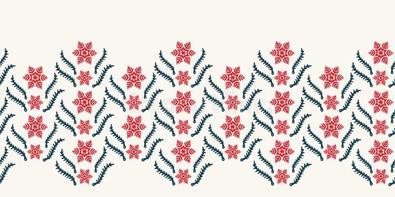 Modelo abstracto exhausto de la frontera del copo de nieve del invierno de la mano Estrellas cristalinas elegantes Fondo monocrom libre illustration
