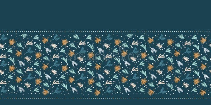 Modelo abstracto exhausto de la frontera del follaje de la Navidad de la mano Rama de árbol lanzada minúscula de abeto en fondo v stock de ilustración
