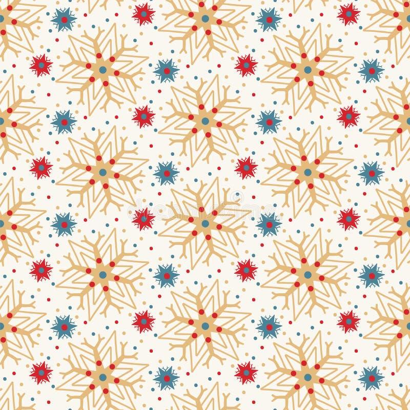Modelo abstracto exhausto de los copos de nieve del invierno de la mano Estrellas cristalinas elegantes en el fondo blanco Día de ilustración del vector