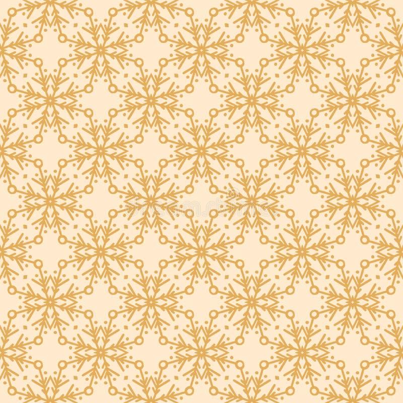 Modelo abstracto exhausto de los copos de nieve del invierno de la mano Estrellas cristalinas elegantes en fondo del oro Día de f ilustración del vector