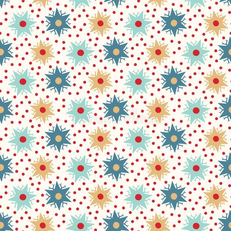 Modelo abstracto exhausto de los copos de nieve del invierno de la mano Estrellas cristalinas elegantes en fondo verde Día de fie libre illustration