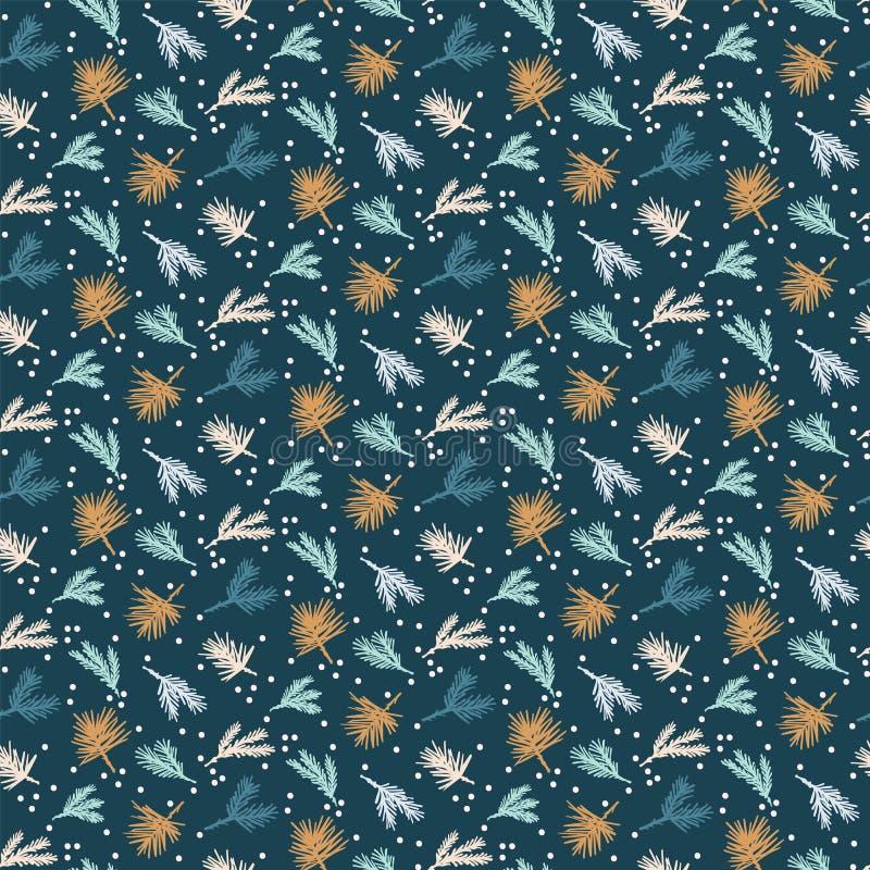 Modelo abstracto exhausto del follaje de la Navidad de la mano Rama de árbol lanzada minúscula de abeto en fondo verde Vacaciones ilustración del vector