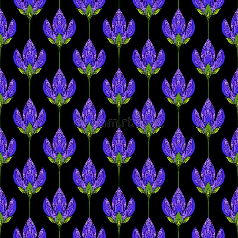 Modelo abstracto floral inconsútil Impresión colorida integrada por flores púrpuras coloreadas en fondo negro Fondo brillante del stock de ilustración
