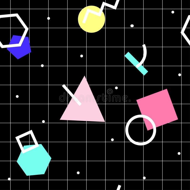 Modelo abstracto geométrico inconsútil del vector Memphis Style, 80s stock de ilustración