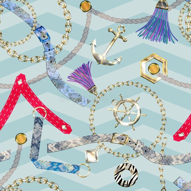 Modelo abstracto inconsútil con las cadenas, las correas, las borlas y el fondo rayado ligero ilustración del vector