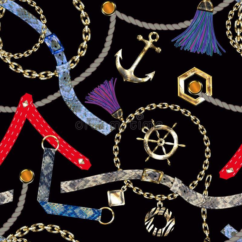 Modelo abstracto inconsútil con las cadenas, correas, cepillos libre illustration