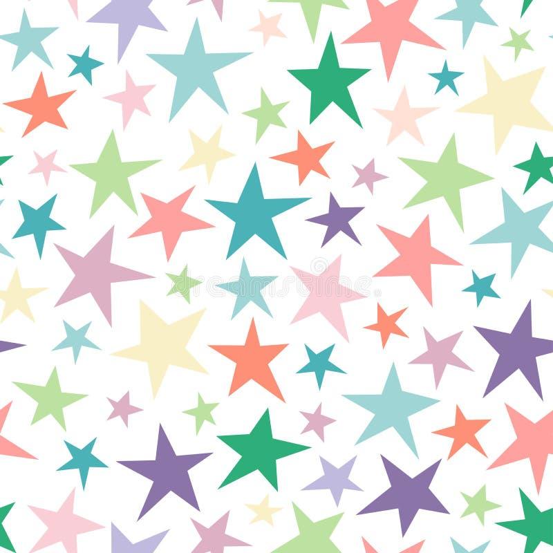 Modelo abstracto inconsútil con las estrellas lamentables dibujadas mano colorida brillante de diverso tamaño en blanco ilustración del vector