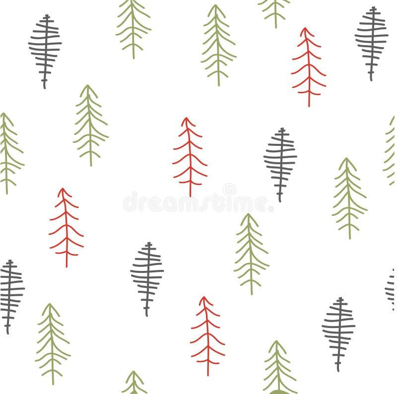 Modelo abstracto inconsútil de los árboles de navidad stock de ilustración