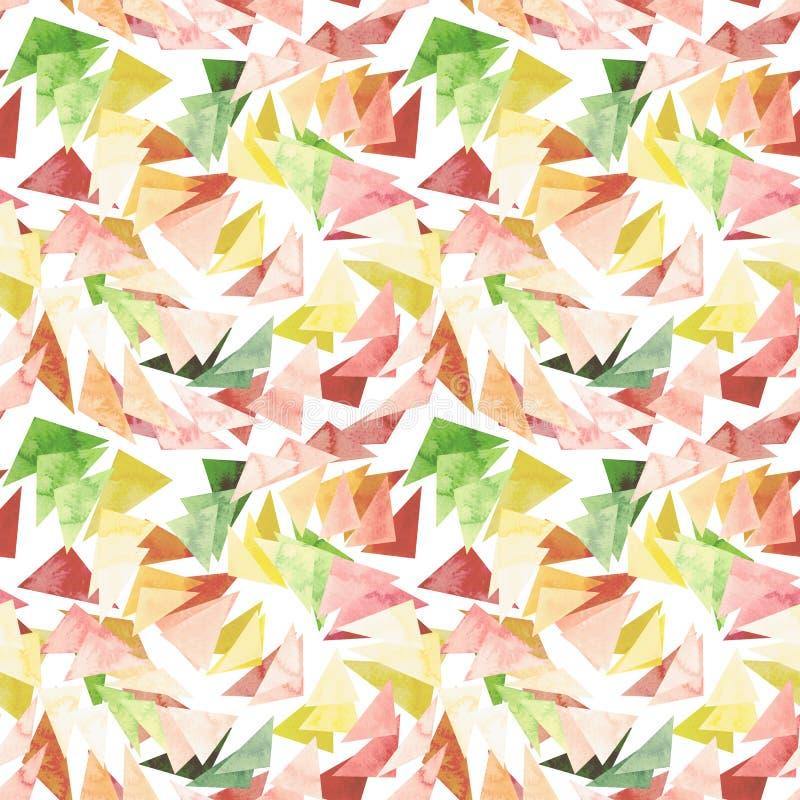 Modelo abstracto inconsútil de los triángulos coloridos frescos de la acuarela libre illustration