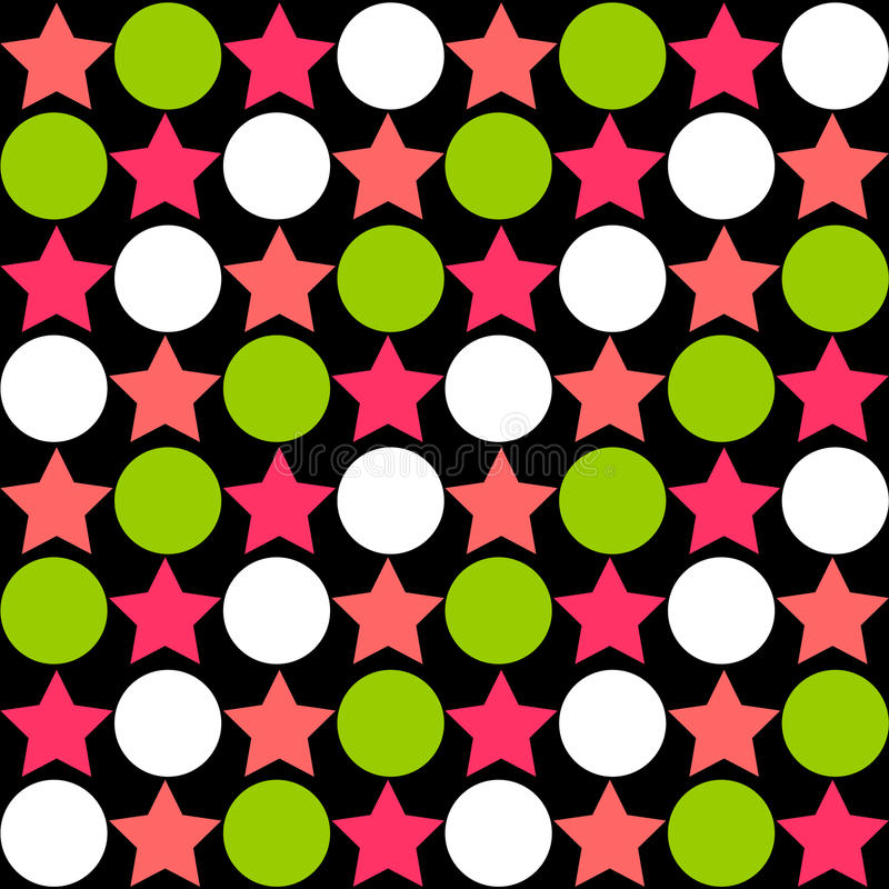 Modelo abstracto inconsútil - estrellas que alternan círculos en brillante ilustración del vector
