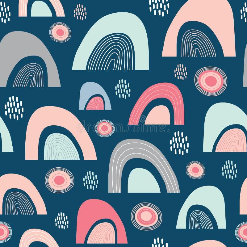 Modelo abstracto incons?til de la repetici?n de la sol, de la lluvia y de los arco iris Un ideal feliz del dise?o geom?trico del  libre illustration