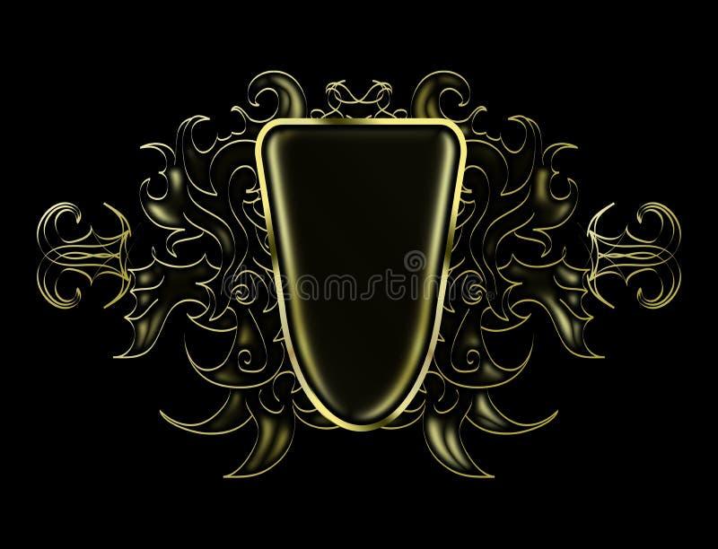 Modelo abstracto negro y del oro brillante para poner el logotipo ilustración del vector