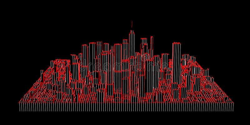 Modelo abstracto rayado de la ciudad ejemplo del contorno del vector libre illustration