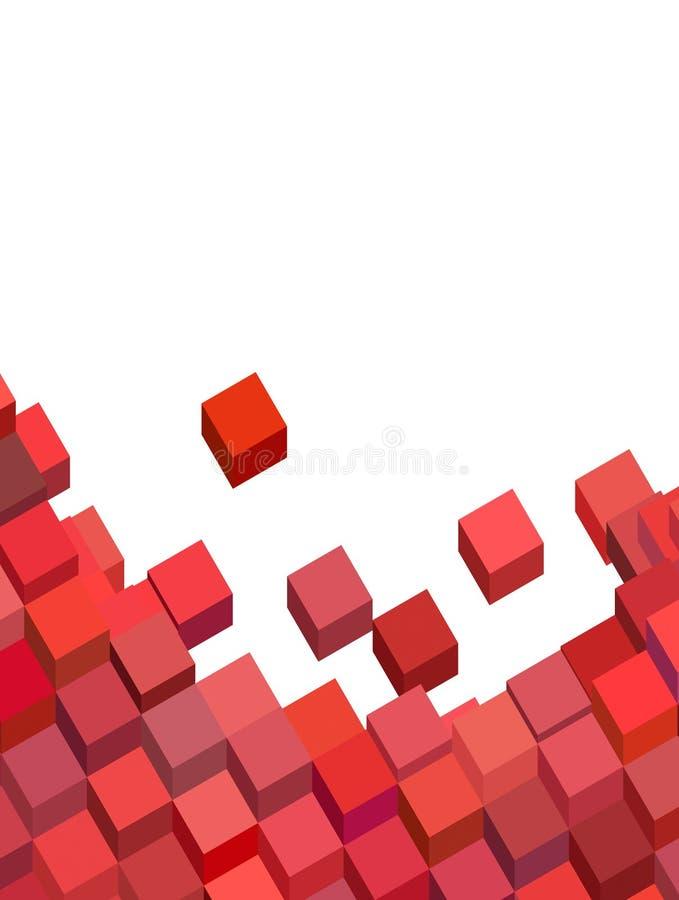 Modelo abstracto rosado del cubo en blanco stock de ilustración