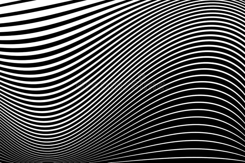Modelo abstracto Textura con las líneas onduladas, ondeantes Fondo óptico del arte Diseño de la onda blanco y negro libre illustration