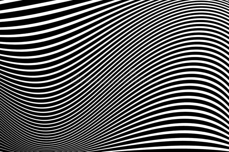 Modelo abstracto Textura con las líneas onduladas, ondeantes Fondo óptico del arte Diseño de la onda blanco y negro stock de ilustración