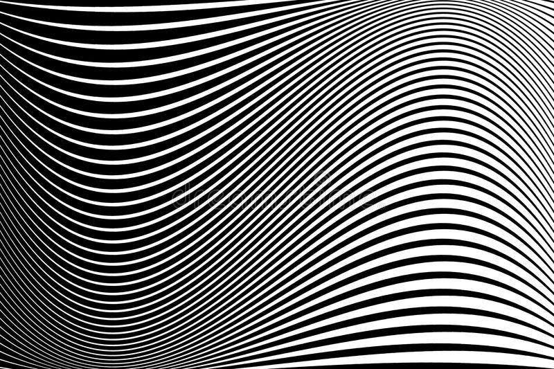 Modelo abstracto Textura con las líneas onduladas, ondeantes Fondo óptico del arte Diseño de la onda blanco y negro ilustración del vector