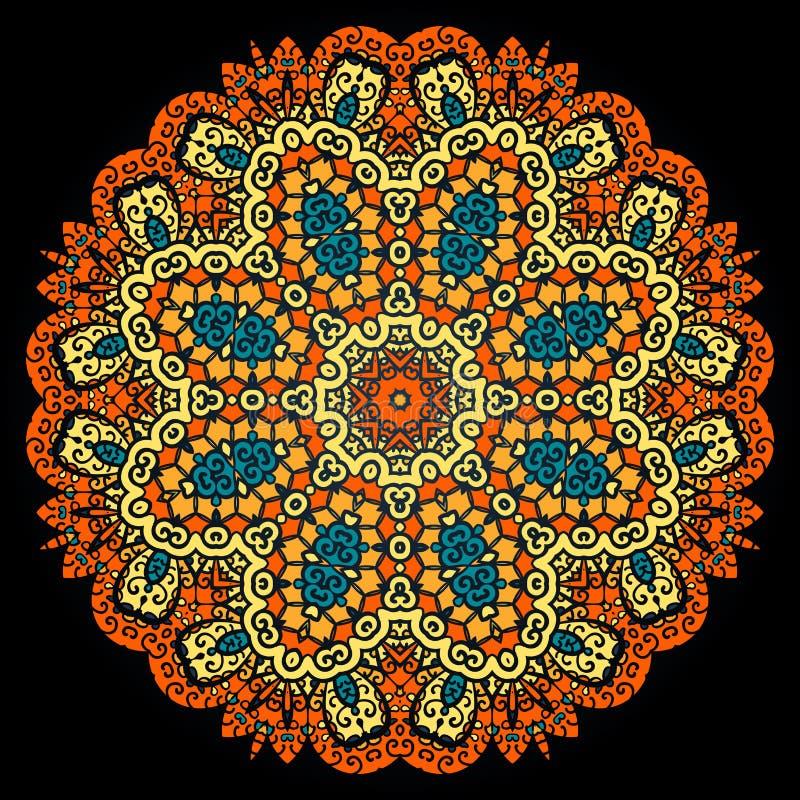 Modelo adornado de la mandala Ornamento indio del vintage en negro ilustración del vector