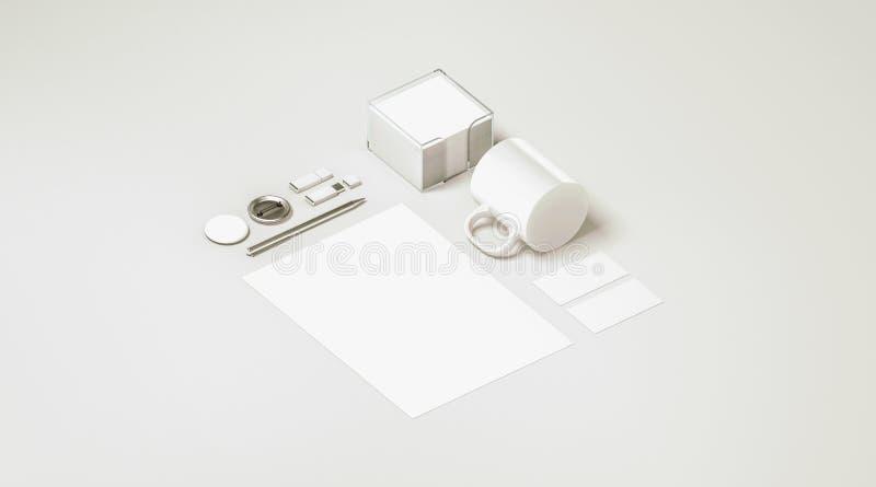 Modelo ajustado dos artigos de papelaria brancos vazios do escritório isolado fotos de stock royalty free