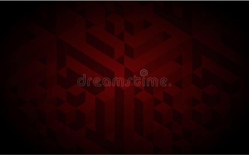 Modelo ajustado vector Textura geométrica en color rojo Tejas elegantes del efecto fondo dinámico abstracto 3d creado de cubos ilustración del vector