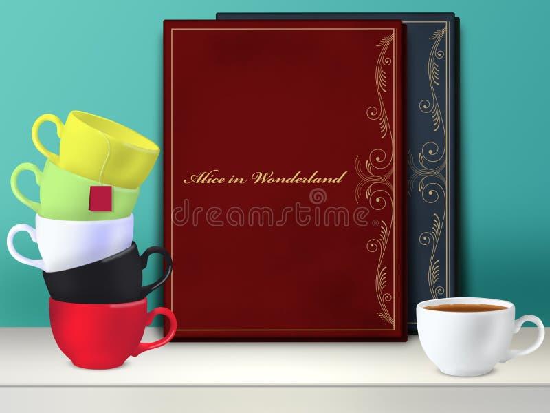 Modelo Alice no livro do país das maravilhas Tea party louco ilustração stock