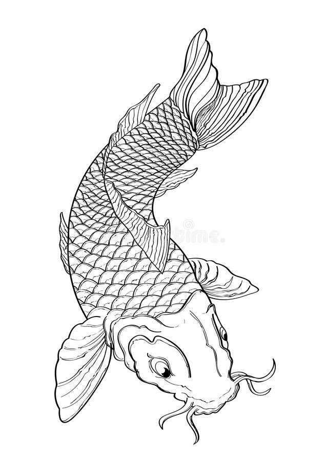 Modelo alineado del estilo japonés del tatuaje de los pescados de Koi stock de ilustración