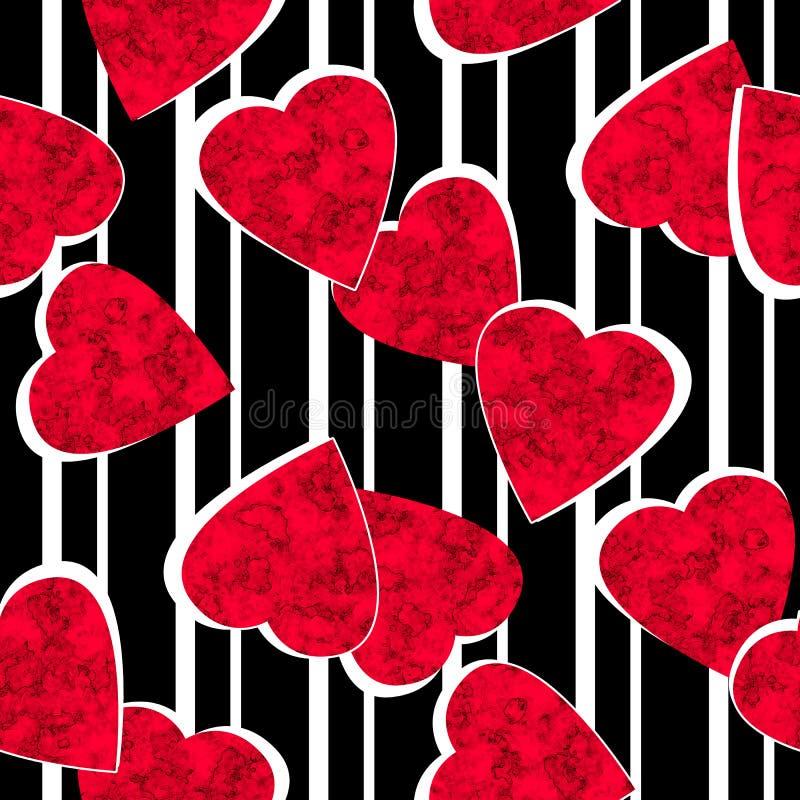 Modelo alineado rayado negro blanco de los corazones rojos inconsútiles de día de San Valentín stock de ilustración