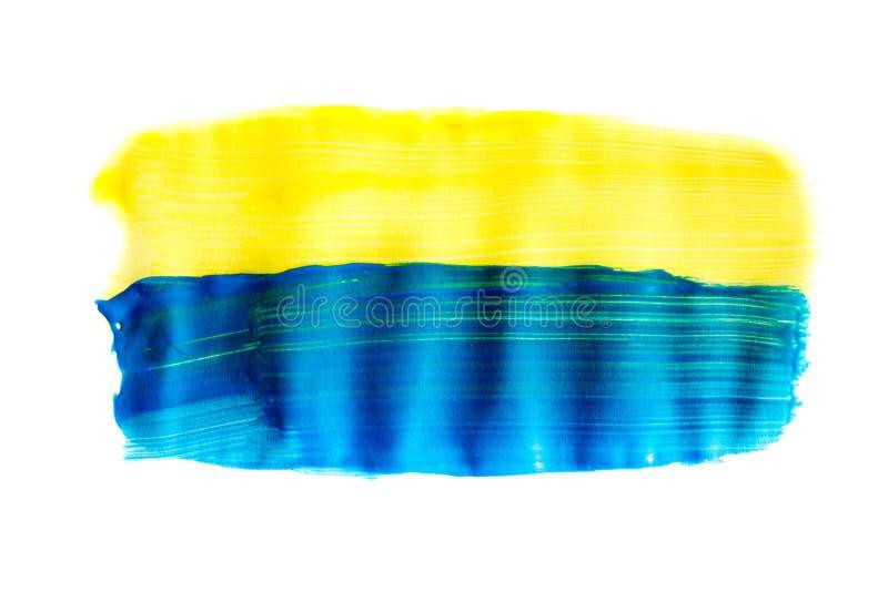 Modelo amarillo azul de la pincelada de la acuarela aislado en el fondo blanco fotos de archivo libres de regalías