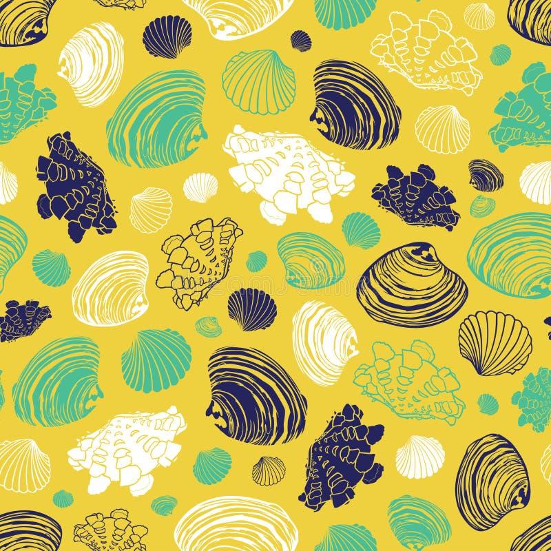 Modelo amarillo de la repetición del vector con la variedad de conchas marinas de la almeja Perfeccione para los saludos, invitac stock de ilustración
