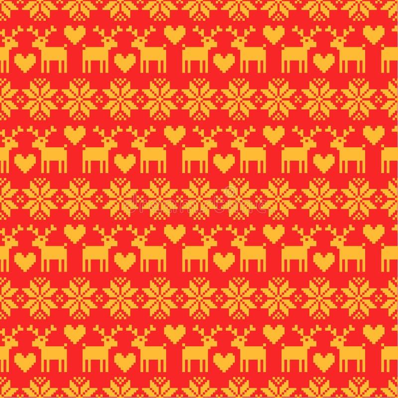 Modelo amarillo del suéter inconsútil de la Navidad del vector con los ciervos en fondo rojo ilustración del vector