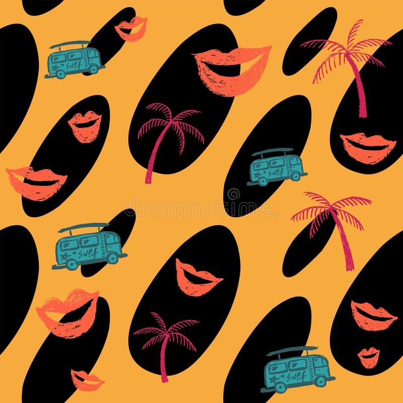 Modelo amarillo inconsútil con la palma rosada, los labios, el autobús y las manchas negras ilustración del vector