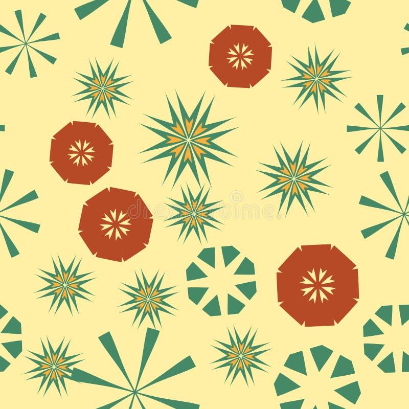 Modelo amarillo inconsútil simple para el diseño Fondo del vector con las estrellas y las flores geométricas Textura colorida cir ilustración del vector