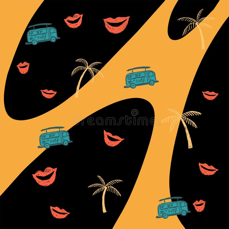 Modelo amarillo y negro inconsútil del descenso con los labios, el autobús y las palmeras ilustración del vector
