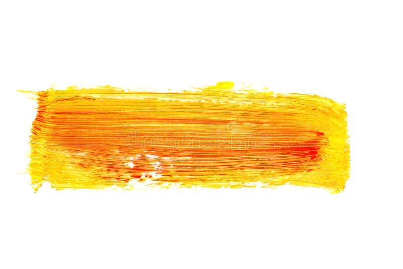 Modelo anaranjado de la pincelada de la acuarela aislado en el fondo blanco imagen de archivo