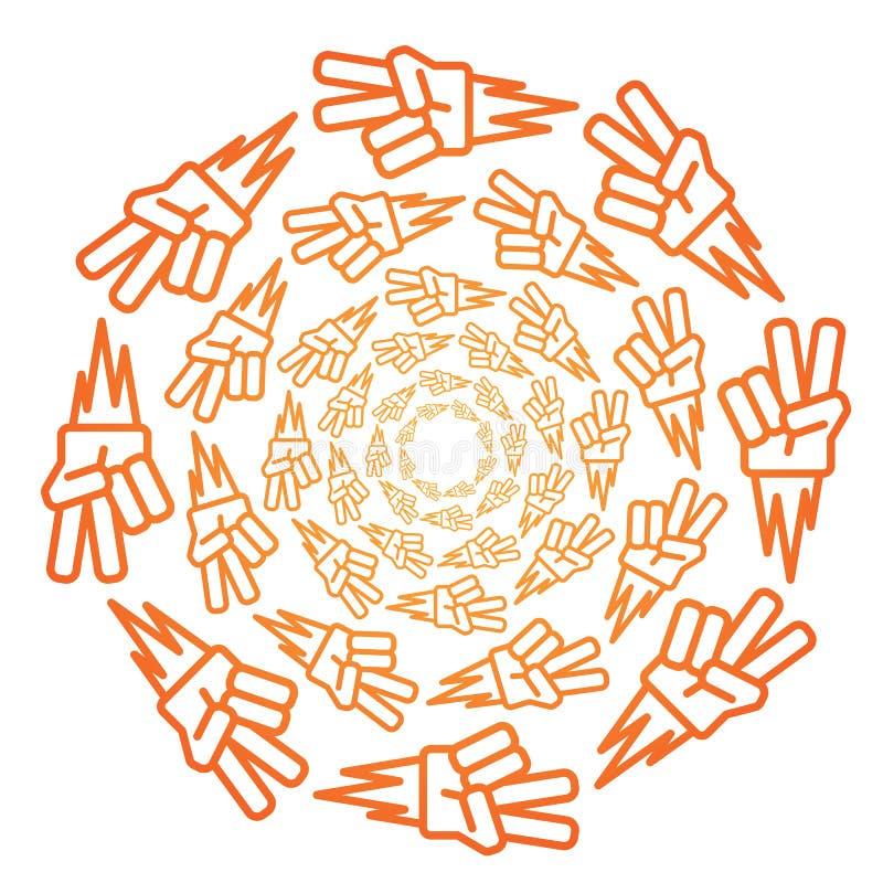 Modelo anaranjado del icono de la pendiente del piedra papel o tijera en blanco stock de ilustración