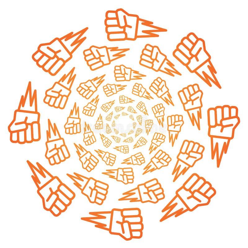Modelo anaranjado del icono de la pendiente del piedra papel o tijera del juego de los niños ilustración del vector