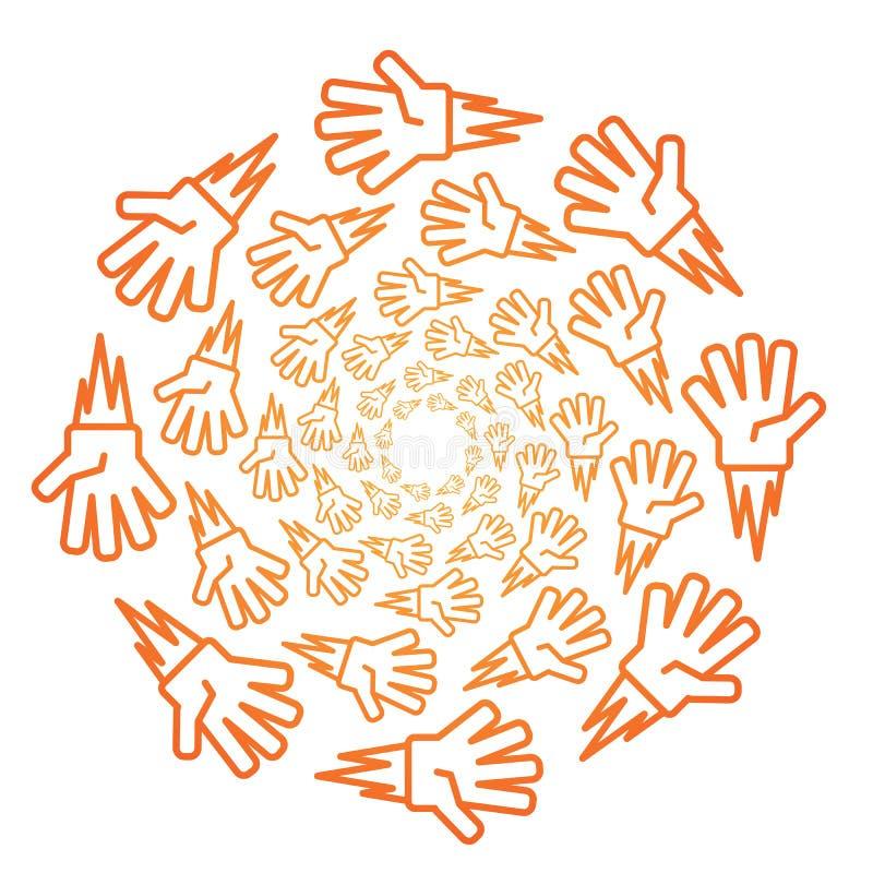 Modelo anaranjado del icono de la pendiente del piedra papel o tijera del juego de los niños en blanco ilustración del vector