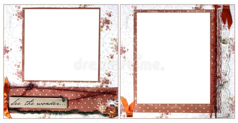 Modelo anaranjado delicado del marco del libro de recuerdos ilustración del vector