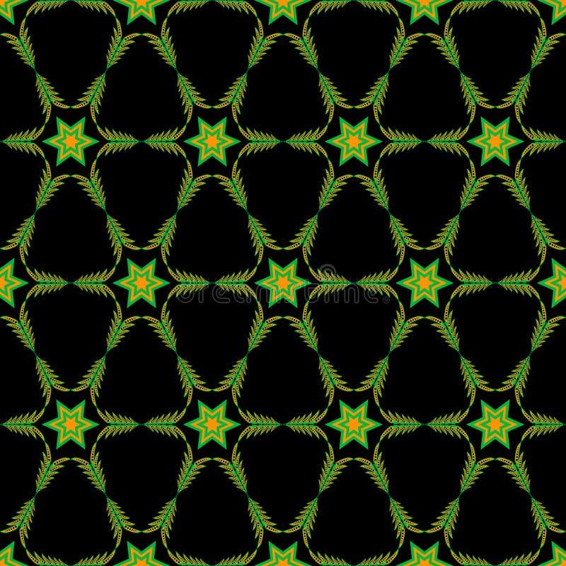Modelo anaranjado-verde geométrico inconsútil con las estrellas libre illustration