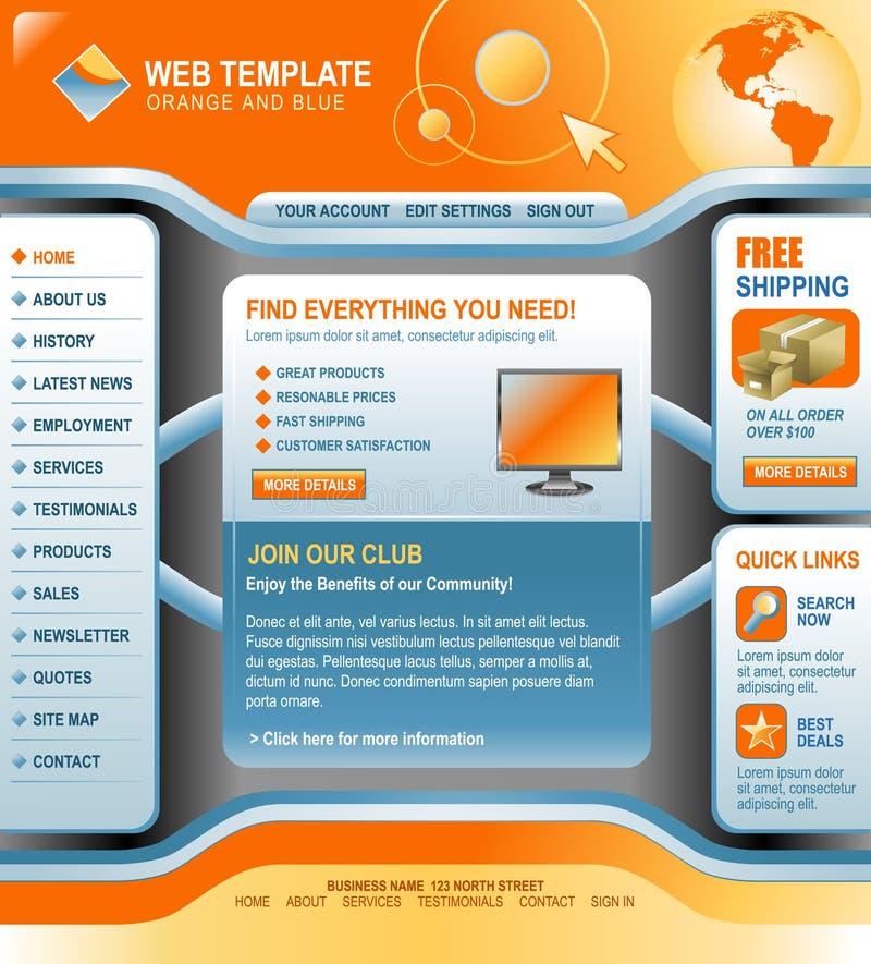 Modelo anaranjado y azul de la tecnología del Internet ilustración del vector
