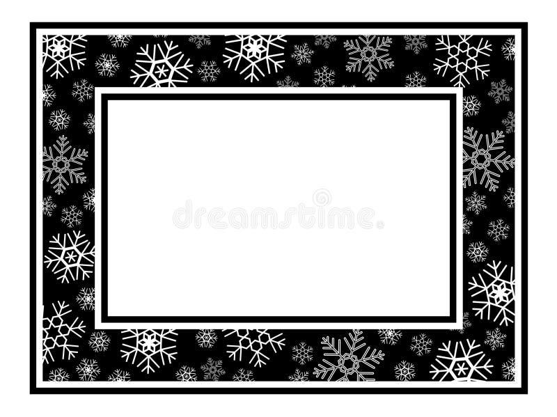 Modelo ancho del copo de nieve del marco stock de ilustración