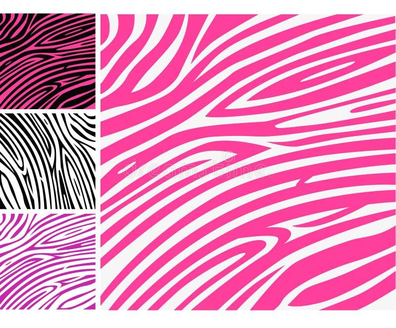 Modelo animal de la impresión de la piel rosada de la cebra stock de ilustración