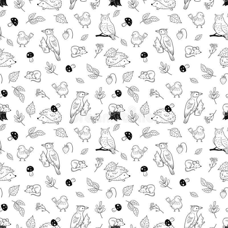 Modelo animal del bosque Animales y pájaros lindos, textura inconsútil del vector del bosque del otoño stock de ilustración