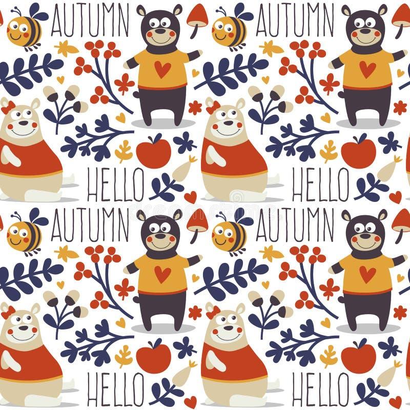 Modelo animal lindo inconsútil del otoño hecho con el oso ilustración del vector