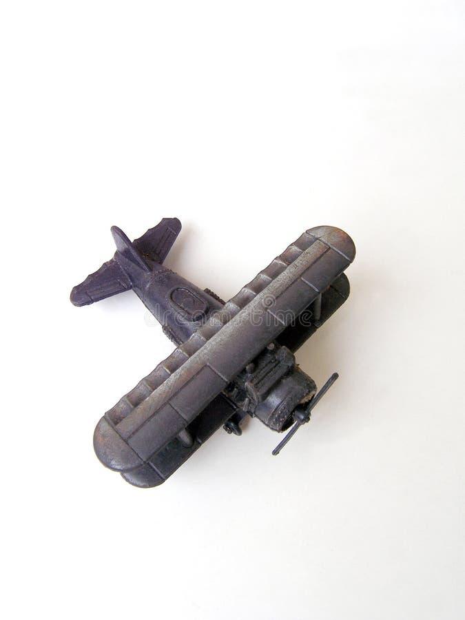 Modelo antigo do brinquedo do biplano foto de stock royalty free
