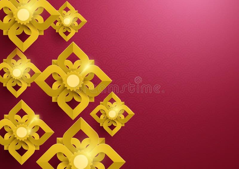 Modelo asiático de las flores abstractas del oro en fondo rojo stock de ilustración